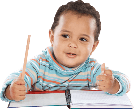 kid with a pencil and notebook