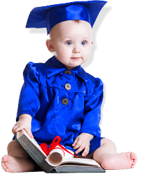baby wearing a graduation clothes