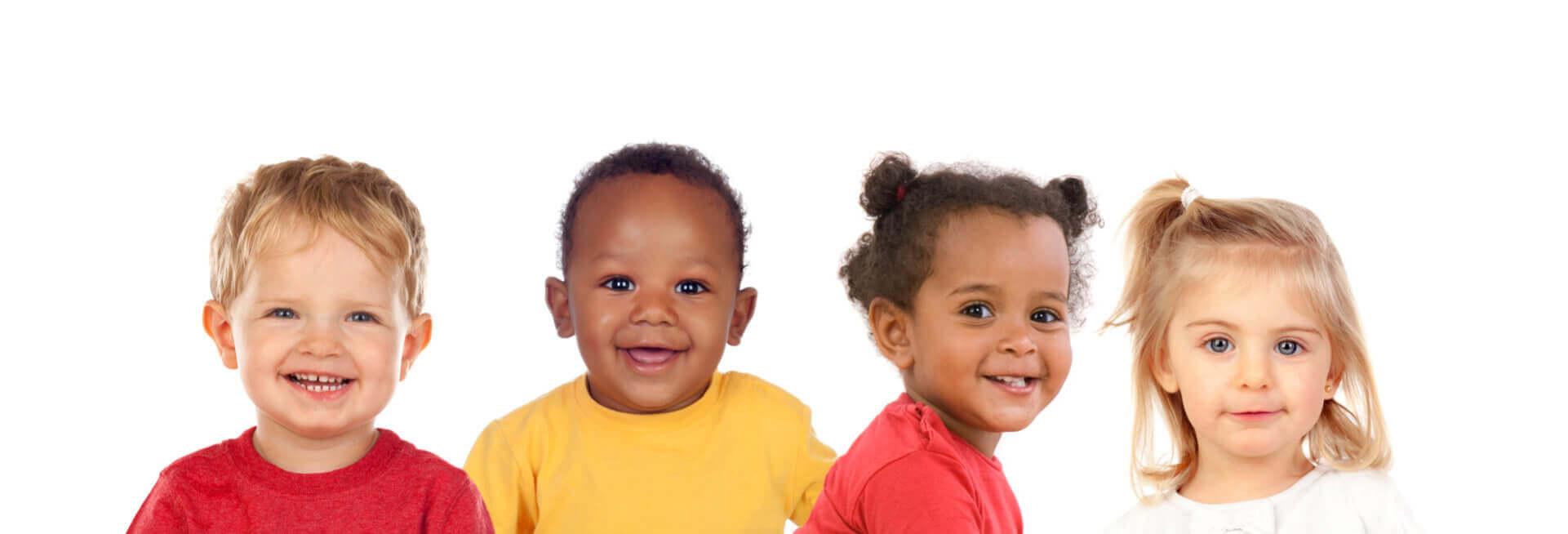 four babies smiling